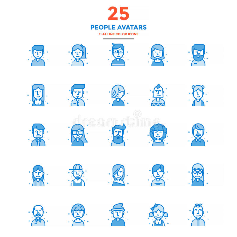 Modern Flat Line Color Icons- People avatars royalty free illustration