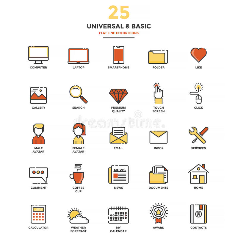 Modern Flat Line Color Icons- Universal and Basic. Set of Modern Flat Line icon Concept of Basic, Universal, Internet, Computer, Calculator, Documents and vector illustration