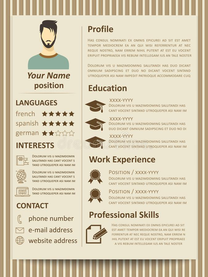 business curriculum vitae and resume vector template stock