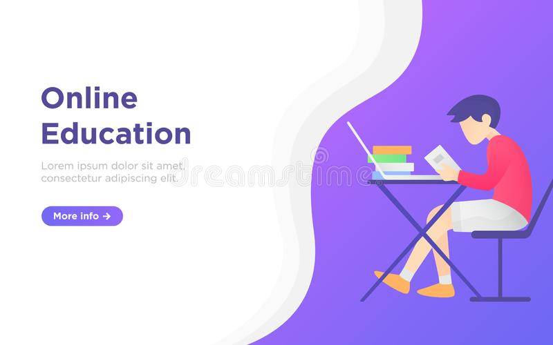 Modern flat online education landing page royalty free stock photo