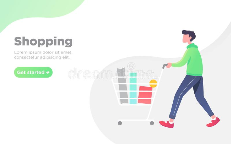 Modern flat online shopping landing page stock photo