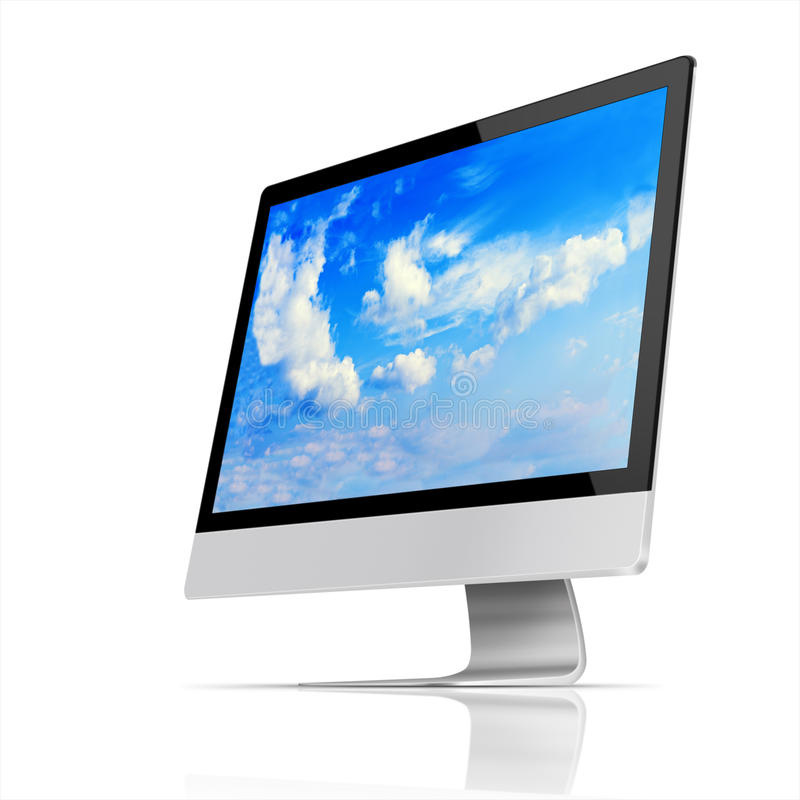 Modern flat screen computer monitor. Modern flat screen computer monitor with with blue sky and beautiful clouds on screen on white background. Highly detailed vector illustration