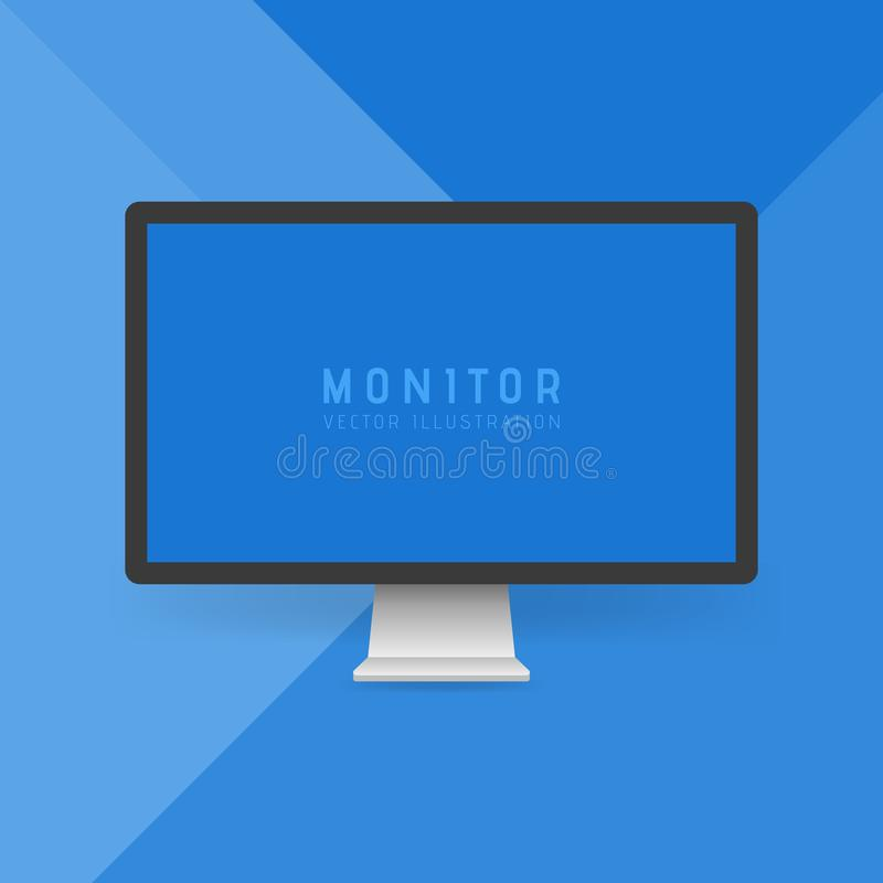 Modern flat screen computer monitor. Digital display isolated on blue material design background. Vector illustration royalty free illustration