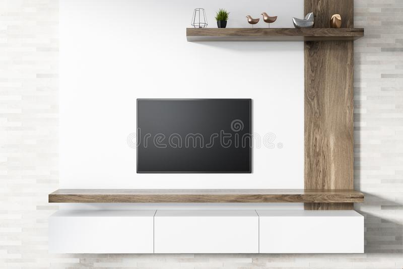 Flat screen TV on white living room wall. Modern flat screen TV set attached to a white wooden wall of a living room. A white set of drawers under it and a shelf stock illustration