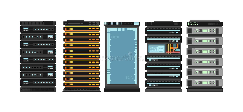Modern flat server racks. Computer processor servers for server room. Vector set isolated on white background. Illustration of computer data equipment royalty free illustration