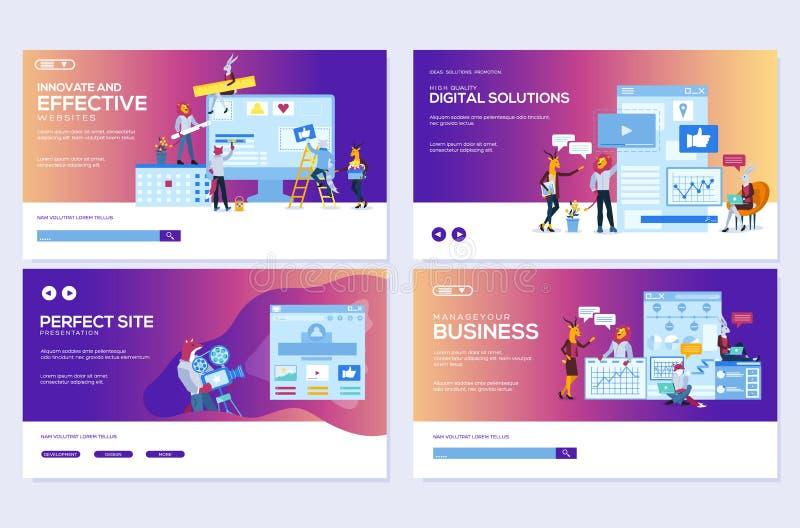 Modern flat set of effective website designs. Template of web page design for website illustration. Concepts of web page stock illustration