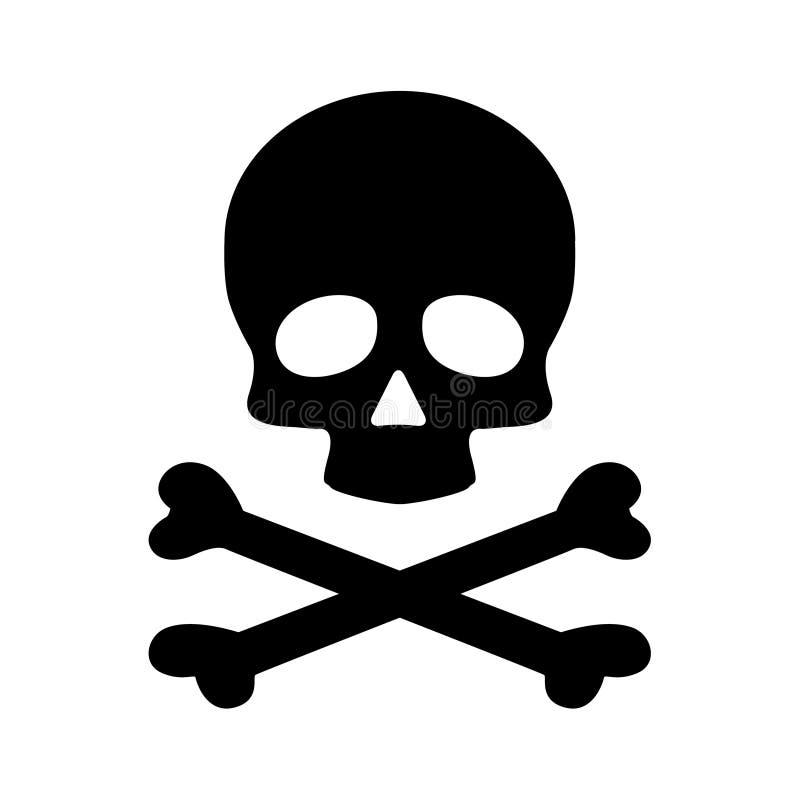 Free Modern Flat Skull Crossbones Icon Isolated On Black Background Stock Photography - 141728152