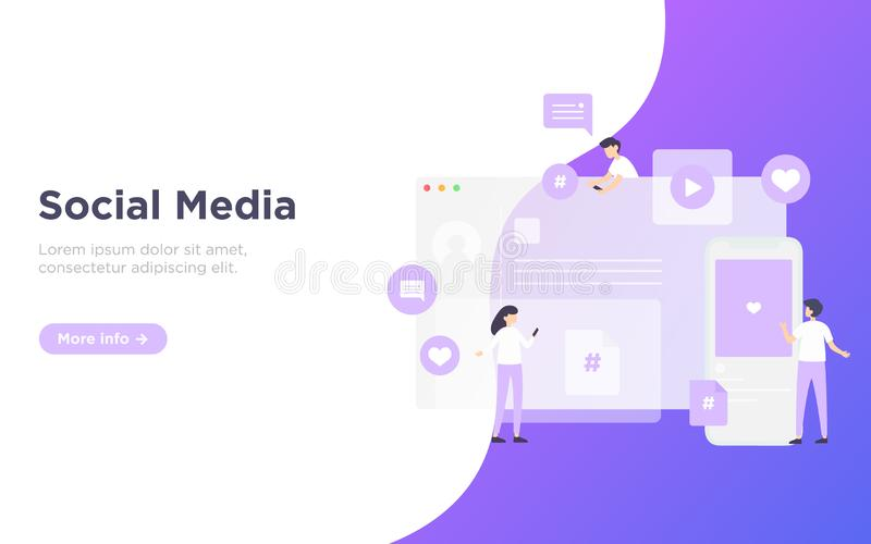 Modern flat social media landing page royalty free stock photos