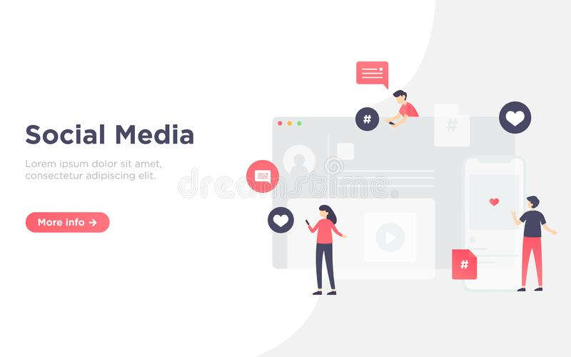 Modern flat social media landing page royalty free stock photo