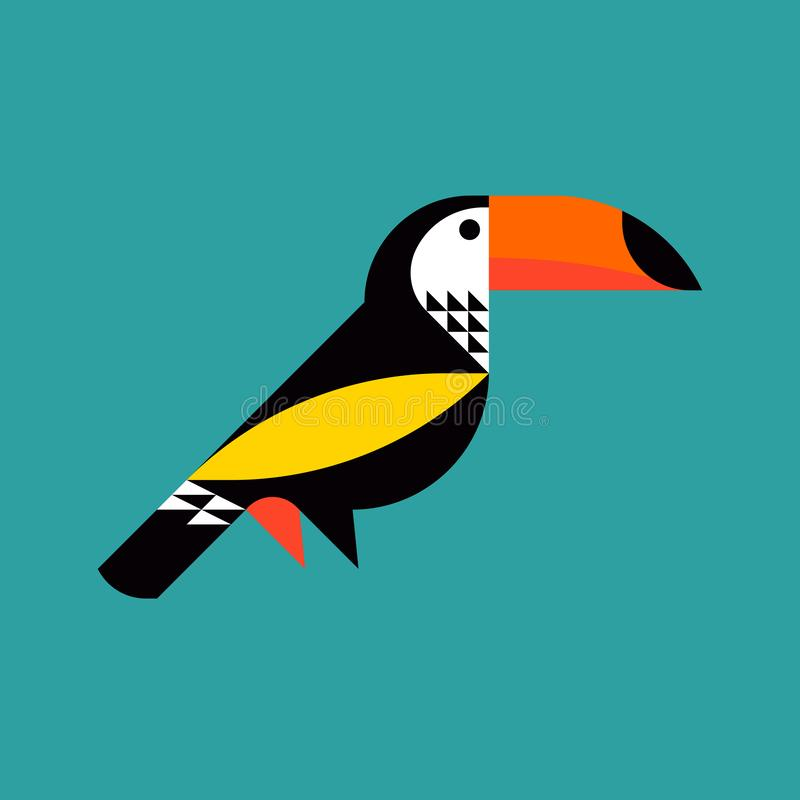Modern flat style illustration of colorful toucan stock illustration