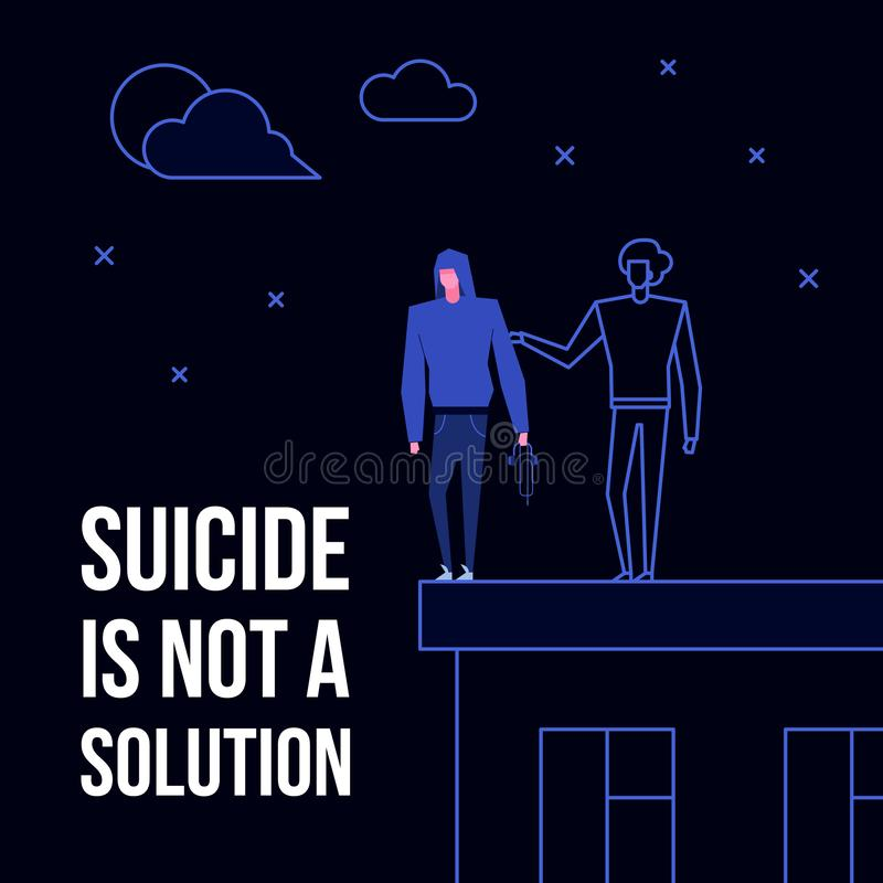 Mental disorder suicide. Modern flat suicide mental illness disorder prevention prophylaxis concept.Flat style characters on roof edge danger situation,text vector illustration