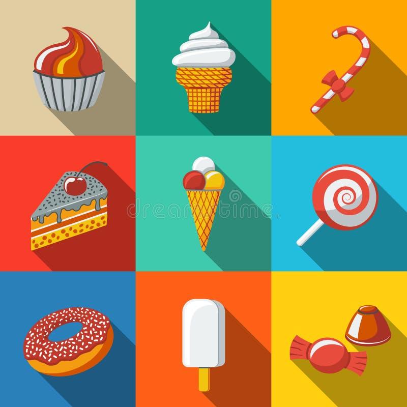 Modern flat sweet icons set with - cupcake, donut stock illustration