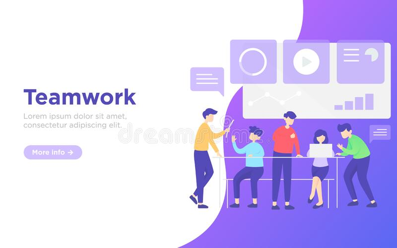 Modern flat teamwork landing page royalty free stock images