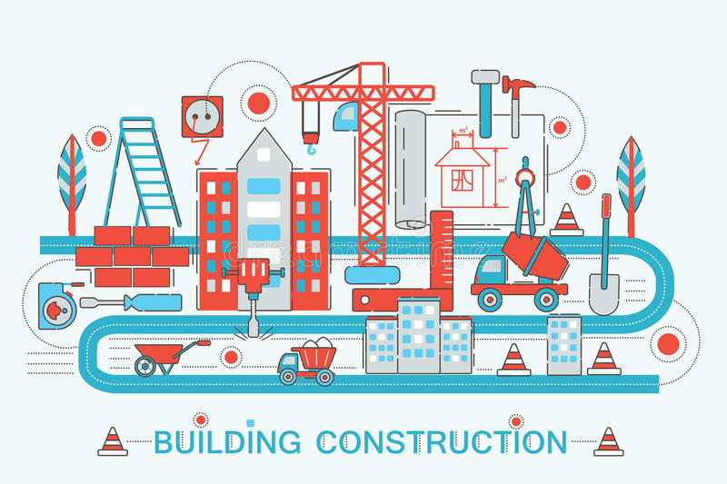 Modern Flat thin Line design Construction and architect building concept stock illustration