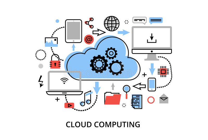 Modern flat thin line design vector illustration, concept of cloud computing technologies, protect computer networks and remote da stock illustration