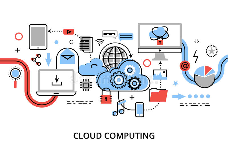 Modern flat thin line design vector illustration, concept of cloud computing technologies, protect computer networks and remote da. Ta storage, for graphic and royalty free illustration