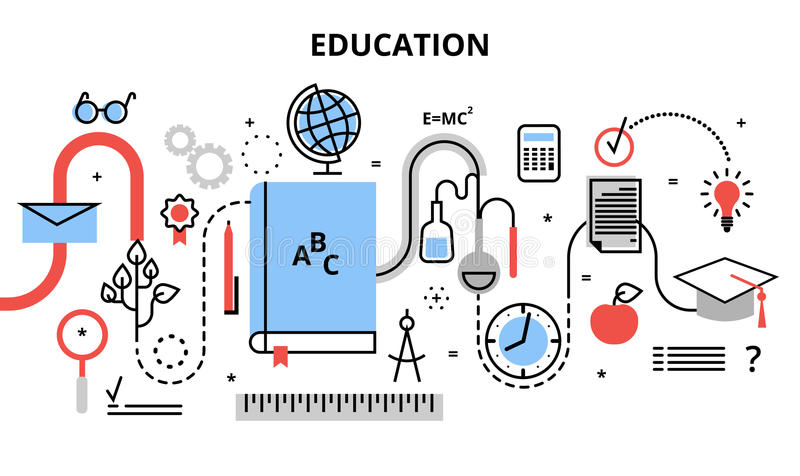 Modern flat thin line design vector illustration, concept of education process, learning in educational institution and items of stock illustration