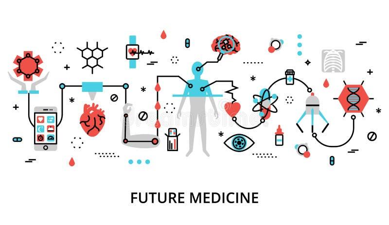 Concept of future medicine. Modern flat thin line design vector illustration, concept of future medicine, for graphic and web design stock illustration