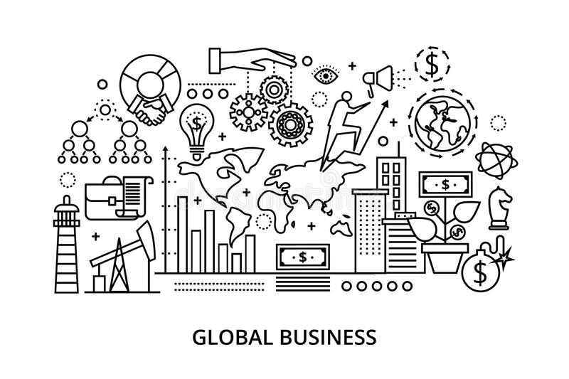 Modern flat thin line design vector illustration. Concept of global business process and finance success in the world, for graphic and web design stock illustration