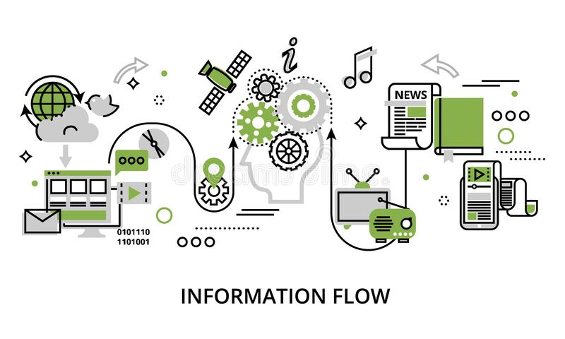 Concept of information flow. Modern flat thin line design vector illustration, concept of information flow, for graphic and web design vector illustration