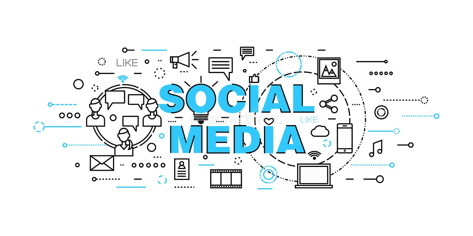 Modern flat thin line design vector illustration, concept of social media, social networking, web communtity and posting news. For graphic and web design royalty free illustration