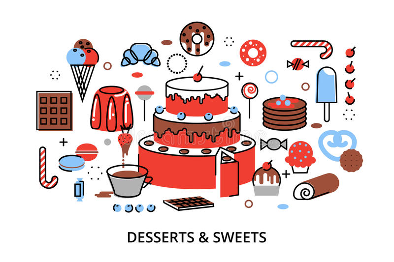 Modern flat thin line design vector illustration, concept of sweet desserts, cake and chocolate. For graphic and web design stock illustration
