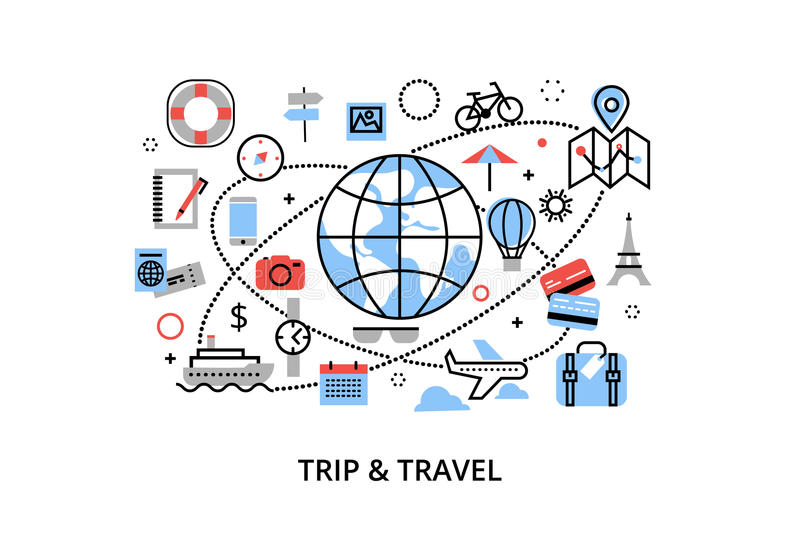 Modern flat thin line design vector illustration, concept of travelling around the world, journey and trip to other countries. For graphic and web design royalty free illustration