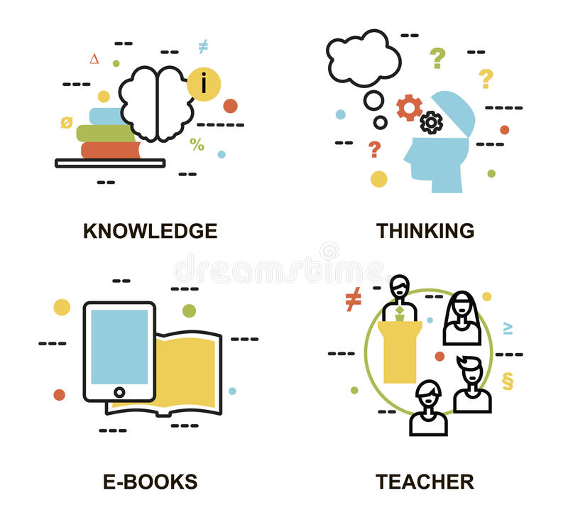 Modern flat thin line design vector illustration, set of education concepts, knowledge, thinking process, e-books and teachers. For graphic and web design royalty free illustration