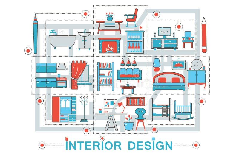 Modern Flat thin Line Interior art design concept for web banner website, presentation, flyer and poster. Modern Flat thin Line Interior art design concept for stock illustration