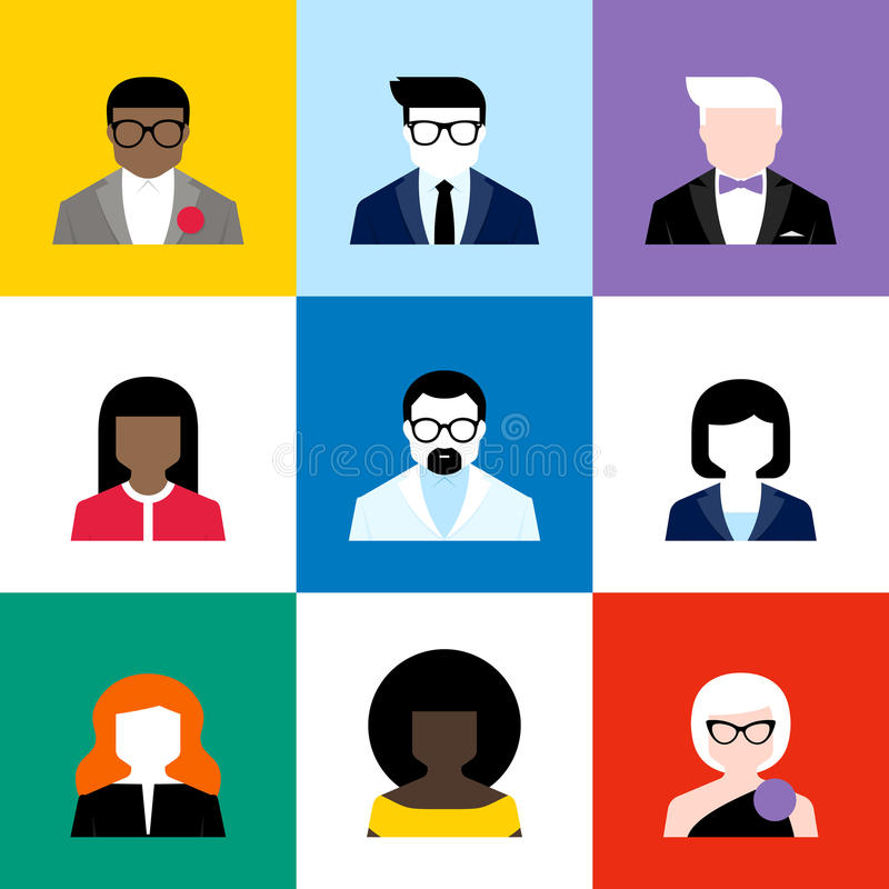 Modern flat vector avatars set. Colorful user icons vector illustration