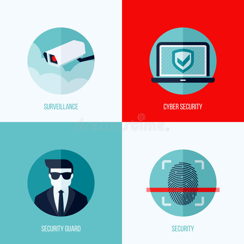 Free Modern Flat Vector Concepts Of Security And Surveillance Stock Photo - 42894330