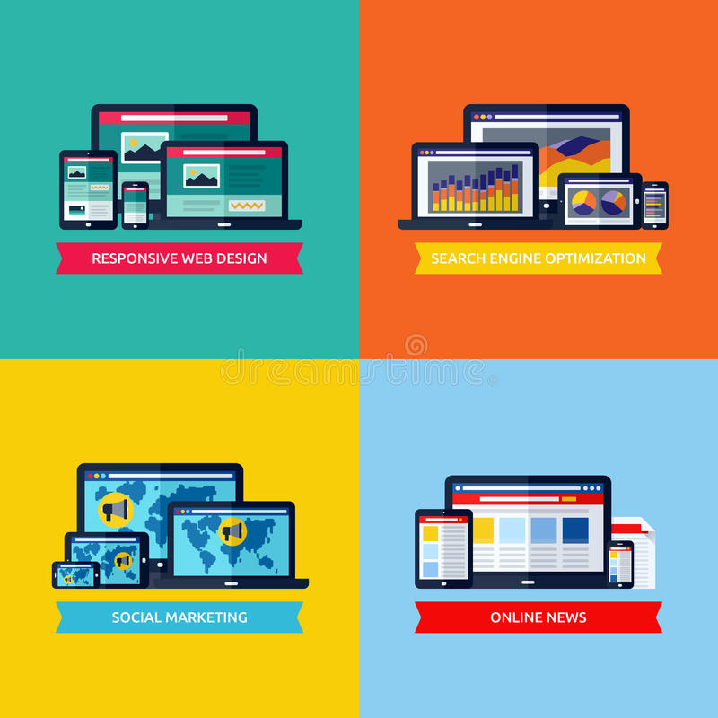 Modern flat vector concepts of web design, SEO, social media mar stock illustration