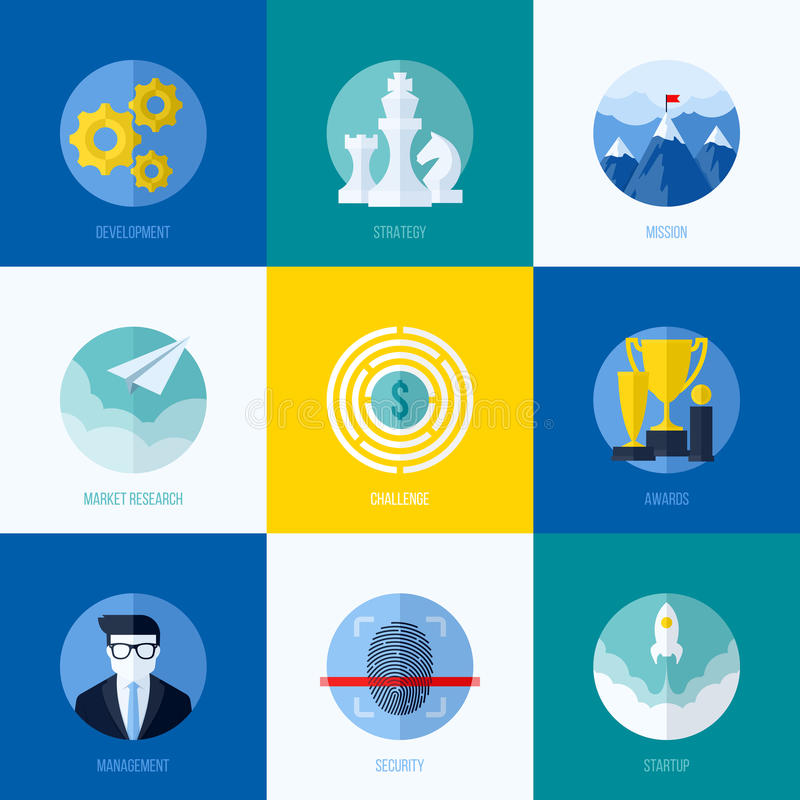 Modern flat vector concepts for websites, mobile apps and printed materials. Icons of development, strategy, mission, market royalty free illustration
