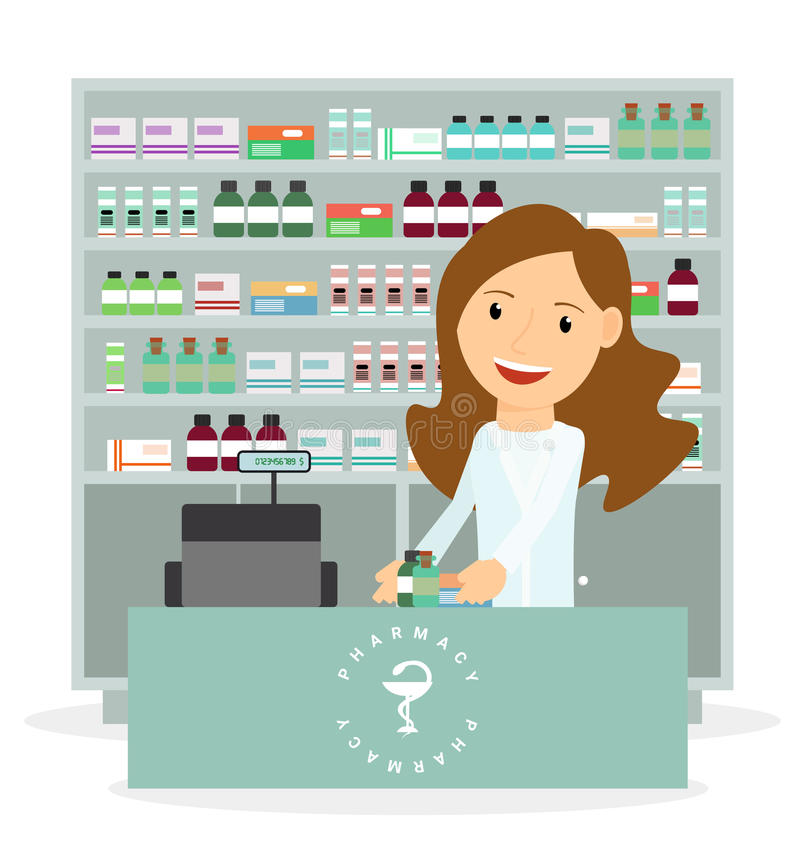 Modern flat vector illustration of a female pharmacist showing medicine description at the counter in a pharmacy royalty free illustration