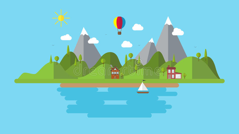 Modern flat vector landscape illustration . with house boat and hills . holiday coast scenery background. Minimalistic trendy stock illustration