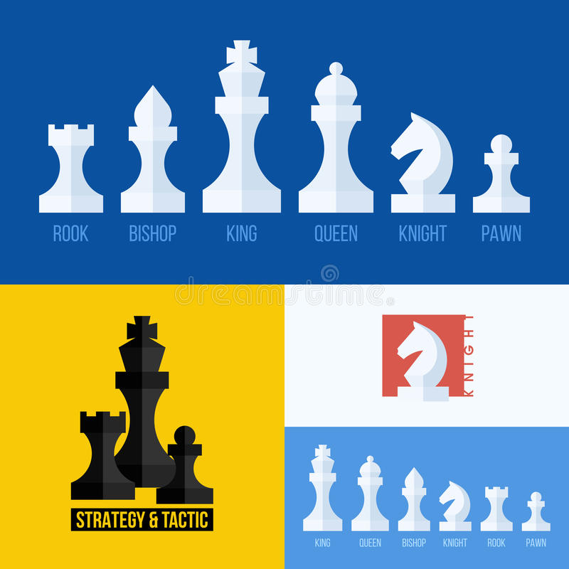 Modern flat vector set of chess icons. Chess pieces royalty free illustration