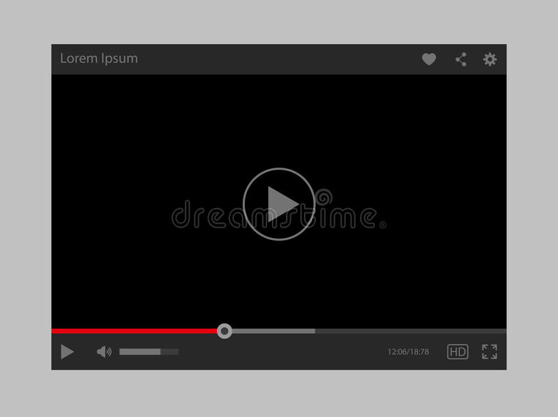 Modern flat video player interface. Modern vector flat design video player interface vector illustration