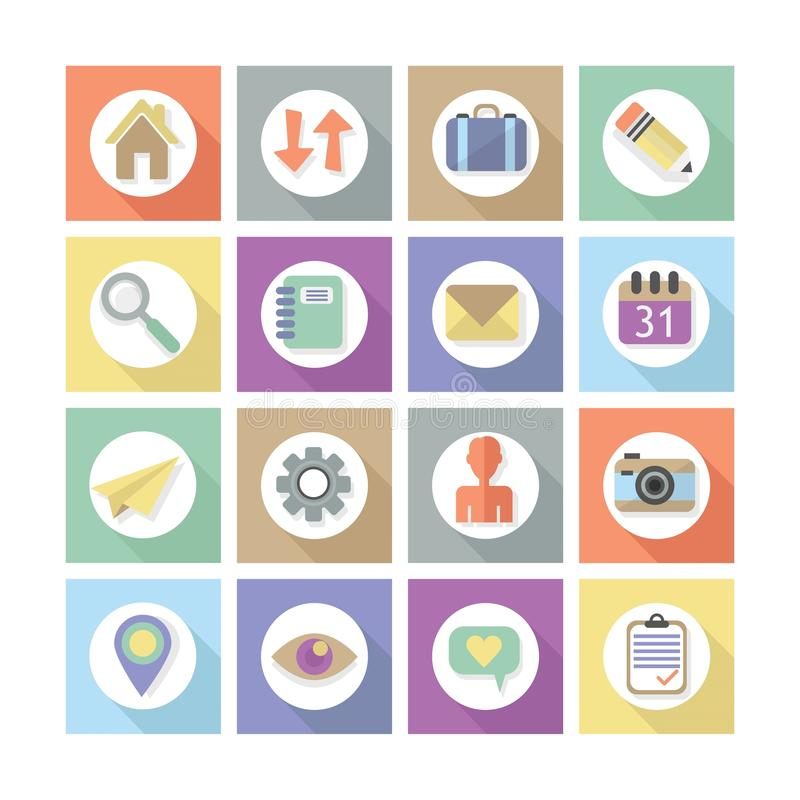 Free Modern Flat Web Design Icons Set 1 Royalty Free Stock Photography - 44042397