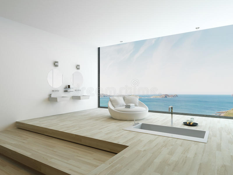 Modern Floor Bathtub Against Huge Window With Seascape View Stock ...