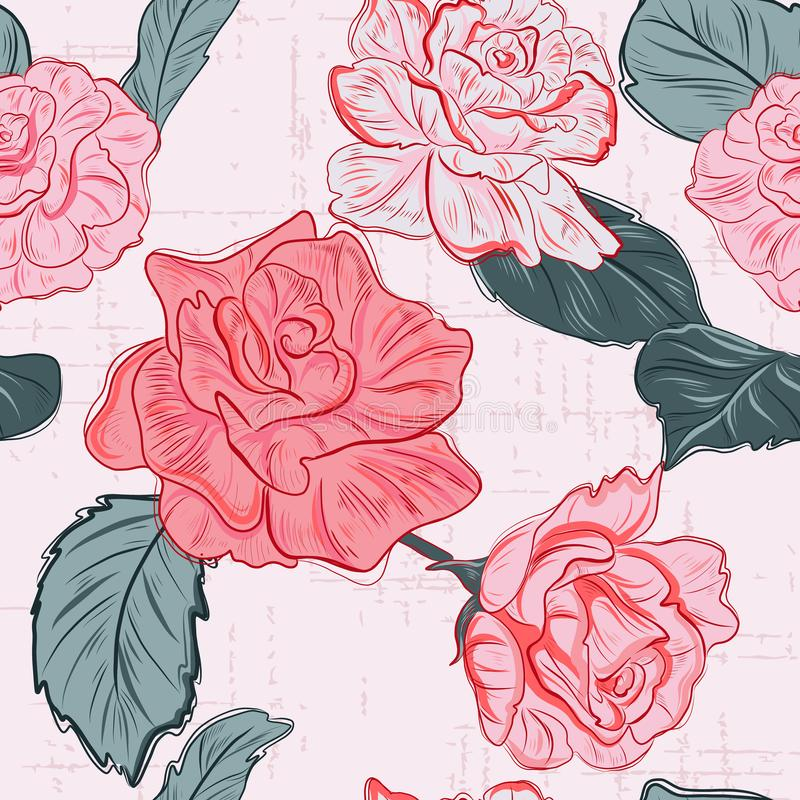Free Modern Floral Pattern. Rose Flowers Romance  Texture. Fabric Repetition Pattern Royalty Free Stock Image - 150780006