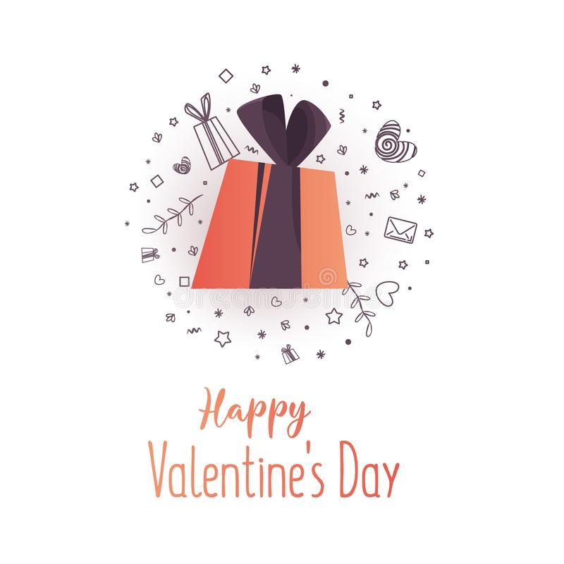 Modern flyer with happy valentine`s day text. vector illustration