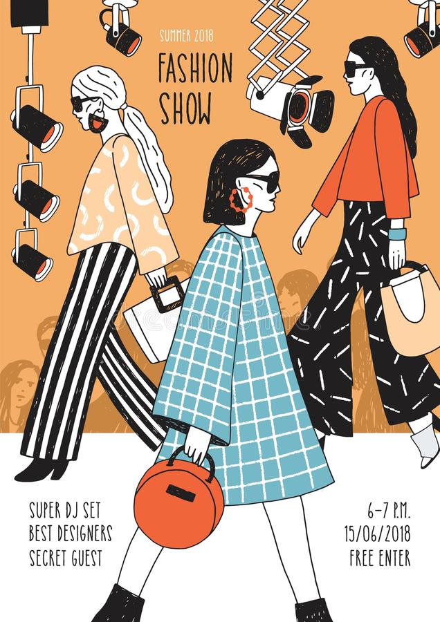Modern flyer or poster template for fashion show with top models wearing trendy haute couture clothing and demonstrating. It on runway. Colorful hand drawn royalty free illustration