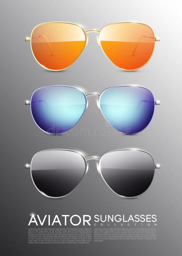 Modern flygare Sunglasses Set stock illustrationer
