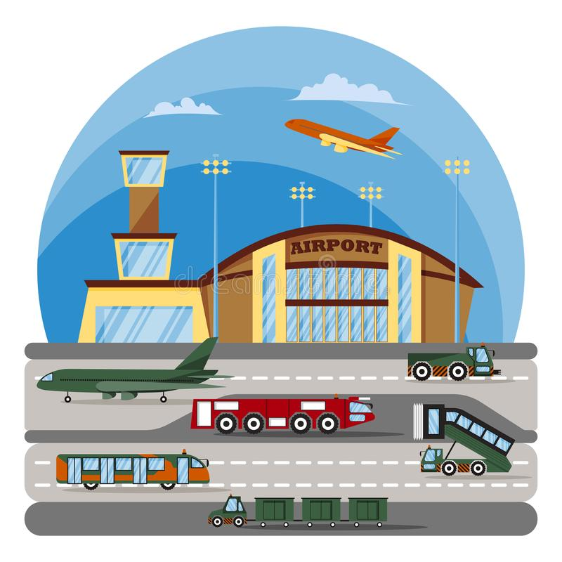 modern flygplats Hjälpspeciala utrustning och medel stock illustrationer