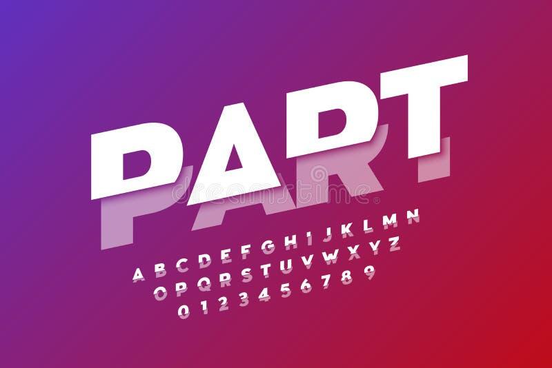 Modern font design. Sliced alphabet letters and numbers stock illustration