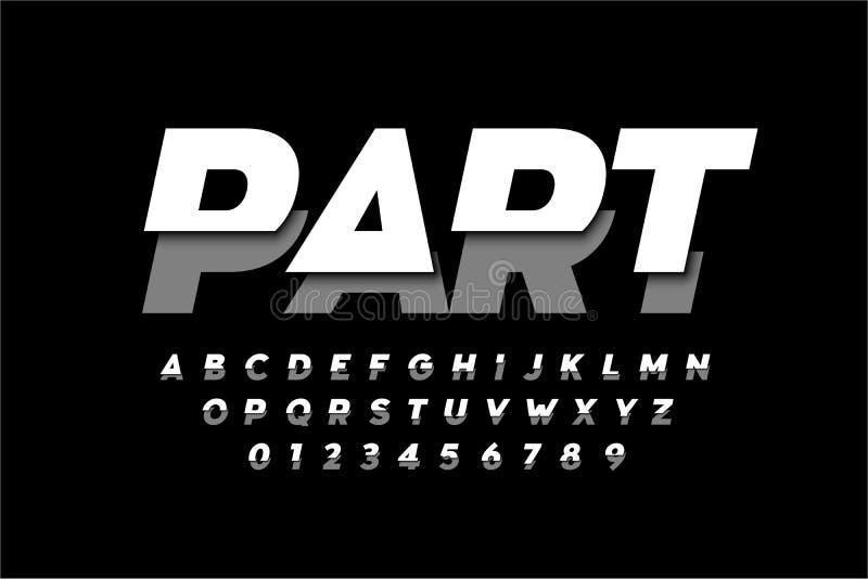 Modern font design. Sliced alphabet letters and numbers vector illustration