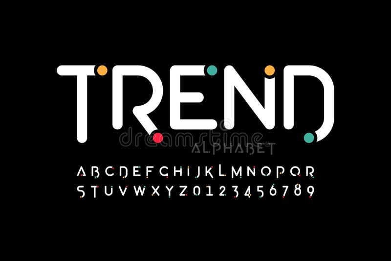 Modern font design. Trendy alphabet letters and numbers stock illustration