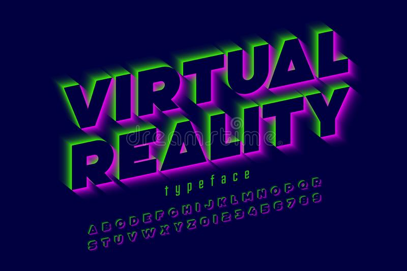 Modern font, virtual reality stock illustration