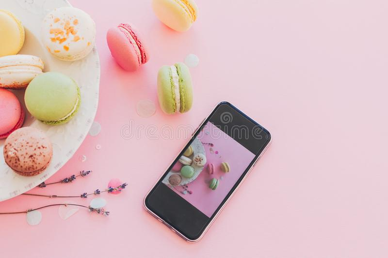 Modern food photography concept. phone with photo of stylish col royalty free stock photos