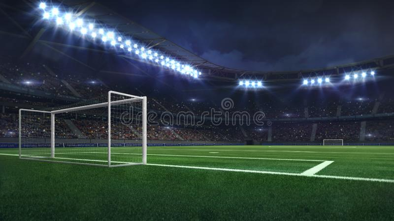 Modern football stadium illuminated by spotlights and empty green grass. Football stadium sport theme digital 3D background advertisement illustration my own stock illustration